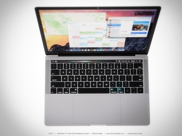 概念图:如果MacBook Pro在键盘上方配备了动态OLED触控栏的照片 - 3