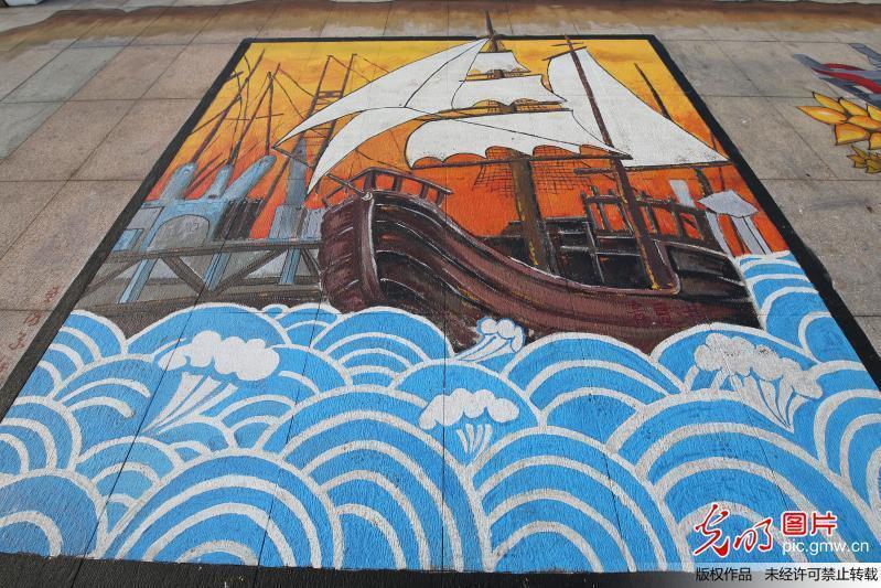 """青岛奥帆中心现""""一带一路""""大地画美景图片"""