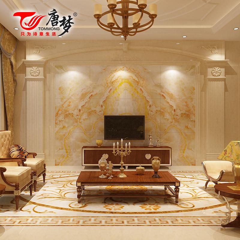 仿大理石欧式客厅瓷砖背景墙 微晶石电视背景墙 富贵金山