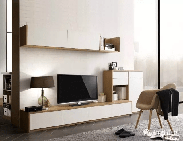 电视柜 吊柜 矮柜,一体设计,简约却不简单,白色电视背景墙,搭配白色
