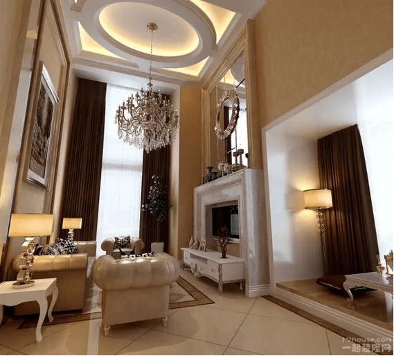 欧式挑高客厅大理石装修效果图