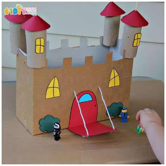 儿童手工 废纸盒纸筒制作城堡 手工材料:废纸盒,卷纸芯,卡纸,胶水
