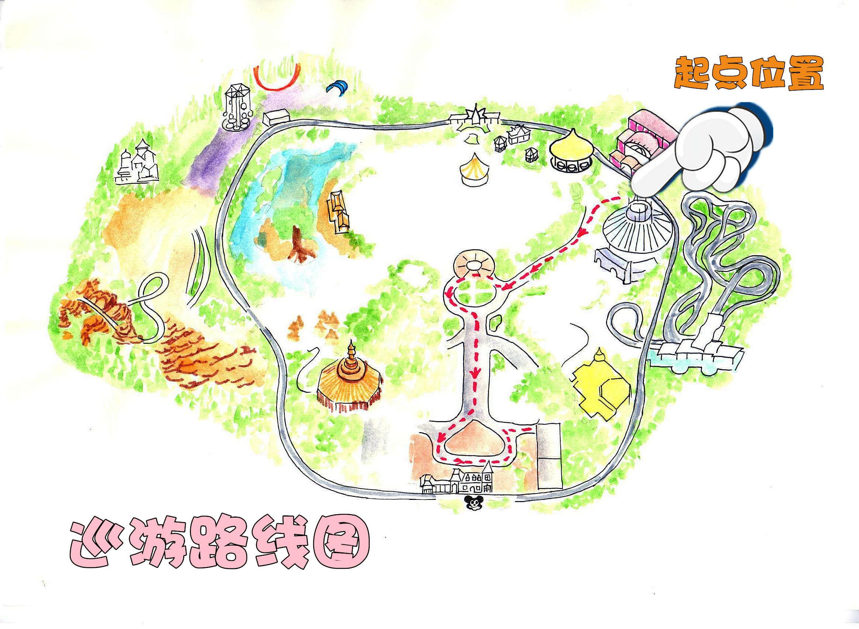 泰山手绘地图卡通