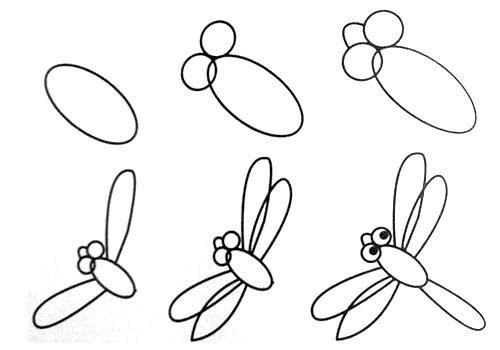 小班幼儿画画入门步骤图1:蜻蜓