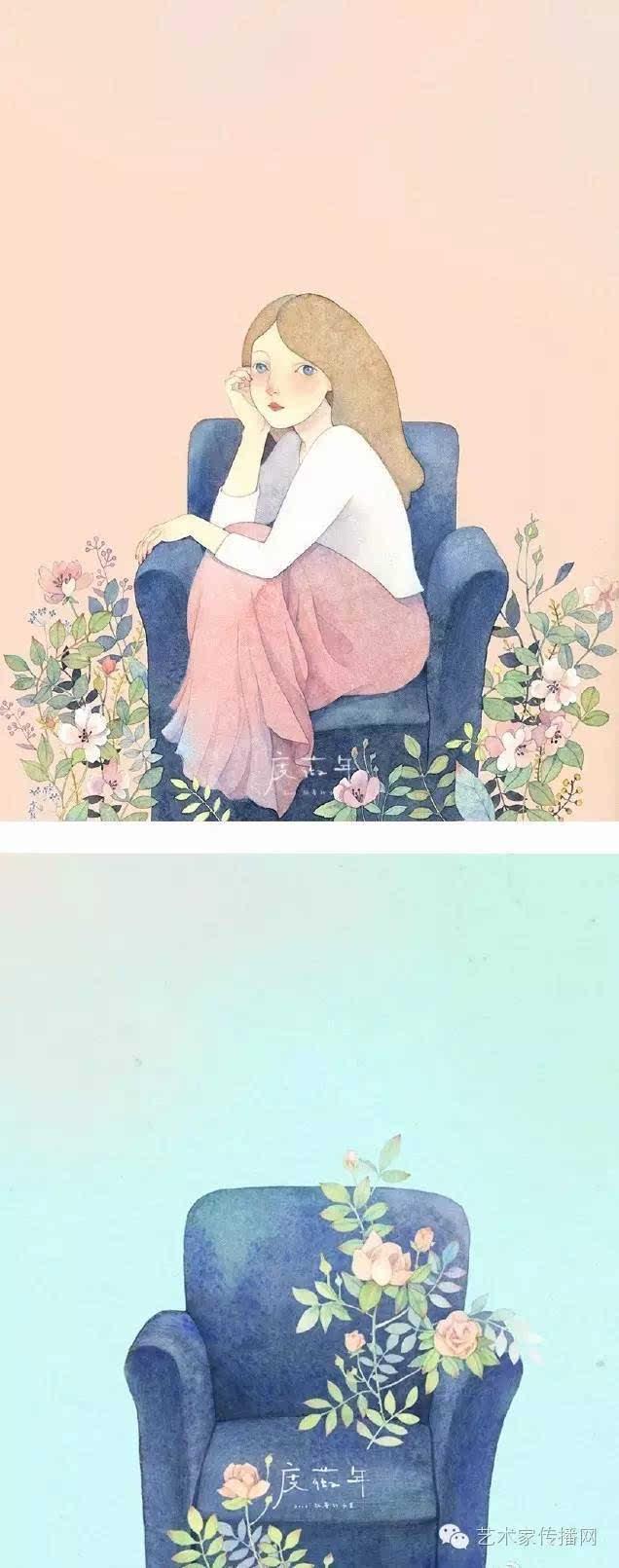 森女系人物插画