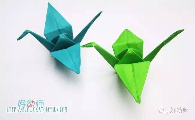 千纸鹤是比较常见的折纸手工,不过可能有的亲还不会折.