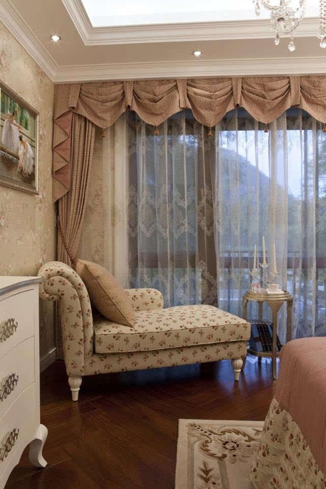 欧式风格奢华别墅装修 窗帘与床品的绝美搭配