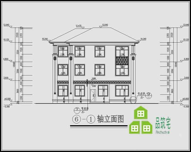 9米三层复式农村别墅户型图