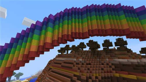 我的世界 巧用命令方块造出七色彩虹桥便捷方法图片