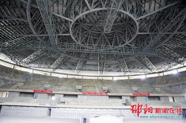 邵阳市体育馆主体工程完工
