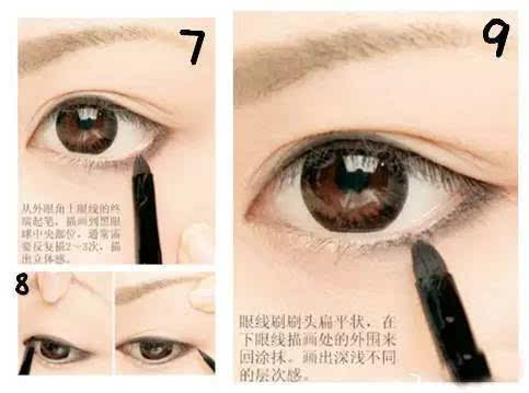 ⑦:从外眼角上眼线的终端起笔,描画到黑眼球中央部位,通常需要反复描