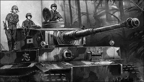 日本超级色的邪恶漫画_日本漫画幻想作品:一辆日军装备的\
