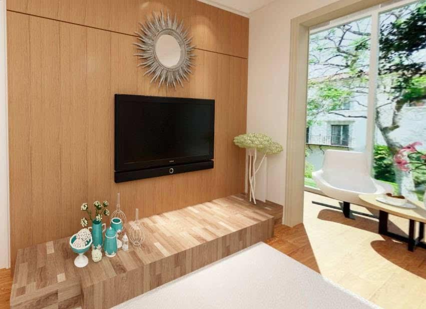 原木质感,电视柜设计 整体色调以白色和原木色为主,简洁的吊顶墙面