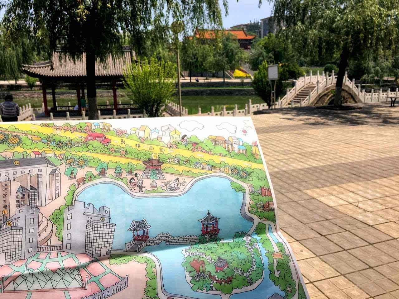 这组校园手绘图来自于山西师范大学美术学院1204设计班赵偲汝同学,在