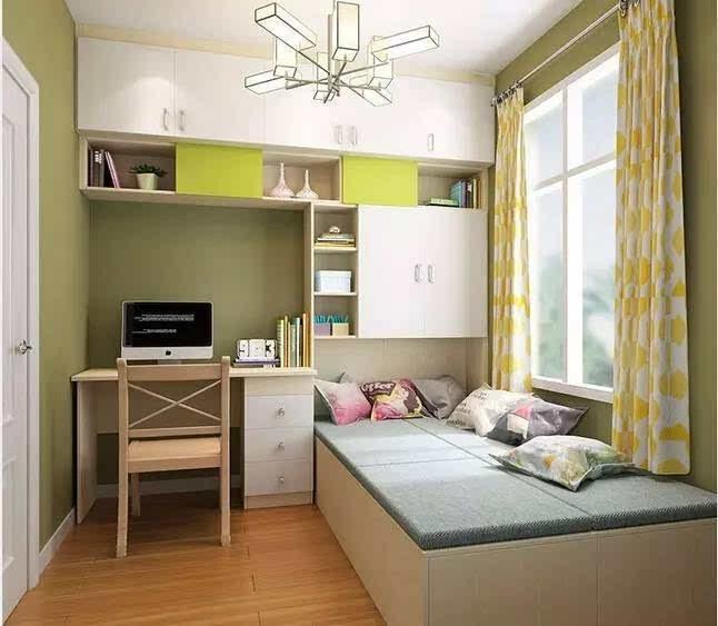 5平米的小卧室,通过定制榻榻米床与衣柜,书柜,书桌一体化设计,将