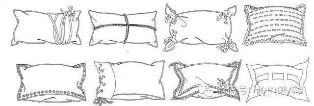 抱枕手绘单体线稿