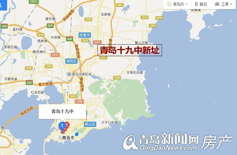 青岛鹤山爬山地图