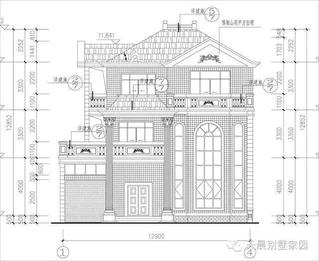 三种风格农村三层别墅设计图