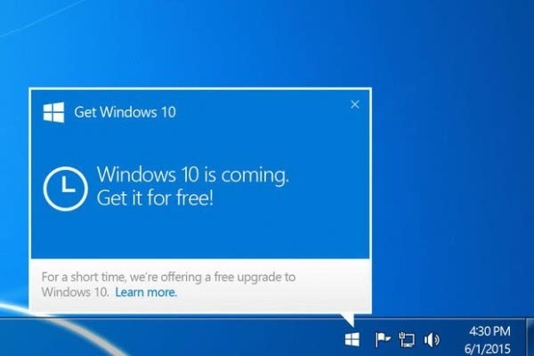 微软被迫简化用户拒绝升级Windows 10的方式的照片