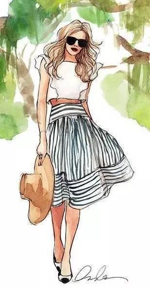中长发女孩儿手绘图片