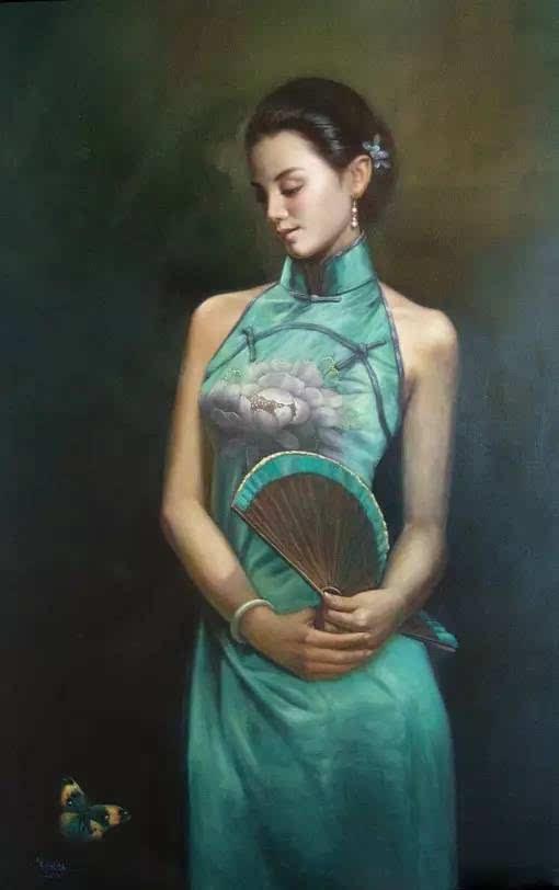 油画中的旗袍女人,颜值爆了图片