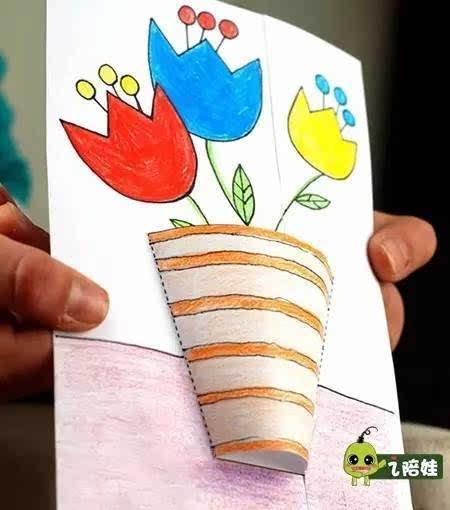 制作也很简单,先将素材打印,给花和花盆上色,然后按照步骤将花盆剪开