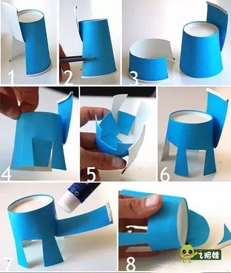 准备一个长方形的彩纸,折出一部分做书童的头发,用白色的纸剪两个圆做