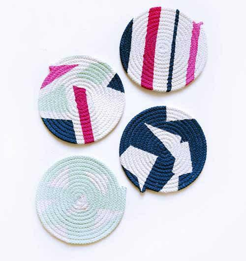 自制手工编织棉绳杯垫 让你爱上简约自然风