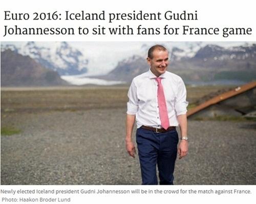 冰岛首相:不坐VIP包间 和歌迷坐一起唱歌助威