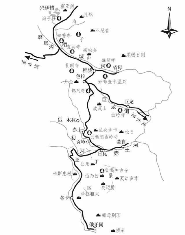 成都至稻城手绘地图