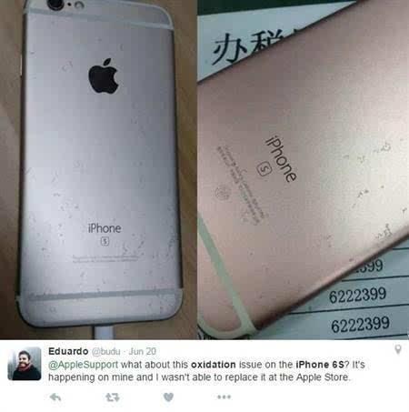 苹果iphone6s深陷氧化门 这回不弯但掉漆了
