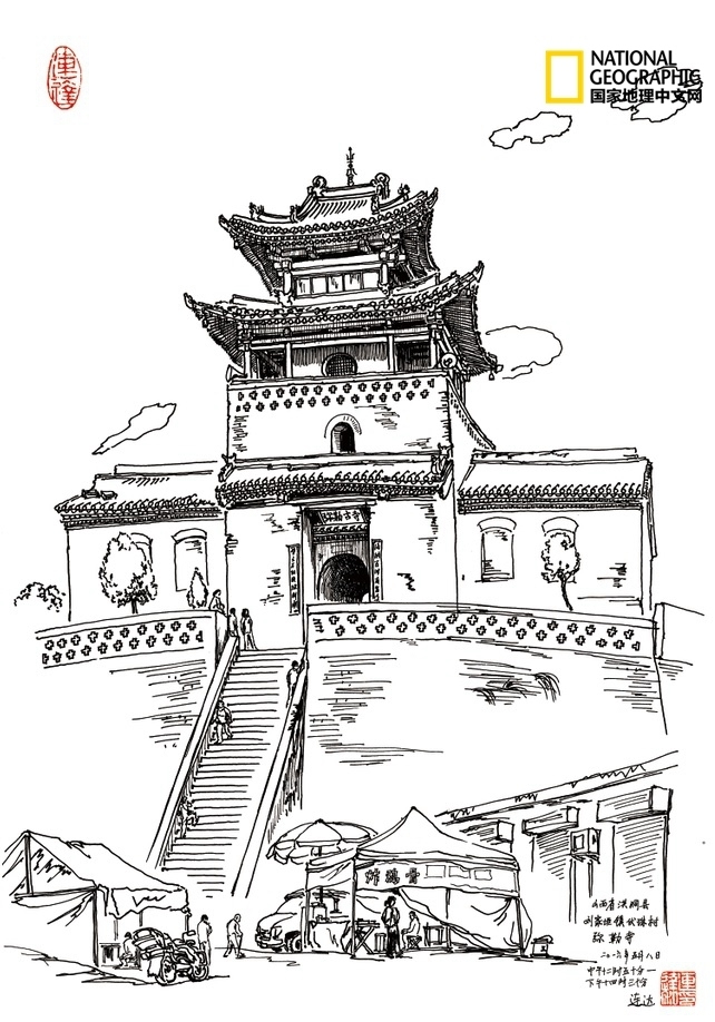 天津鼓楼手绘画