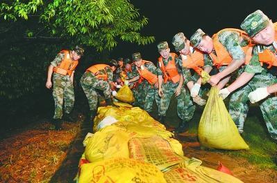 昨天0:30解放军陆军军官学院官兵正在丰乐河桃花岛段加筑堤防. 张大