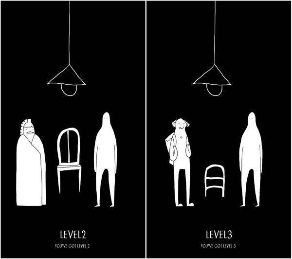科技 正文  游戏的全程只有黑白色的简笔画,画面中两个人物,一盏吊灯