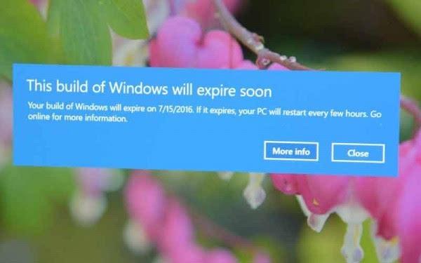 Windows 10预览版下一个版本将提供更佳的过期通知的照片