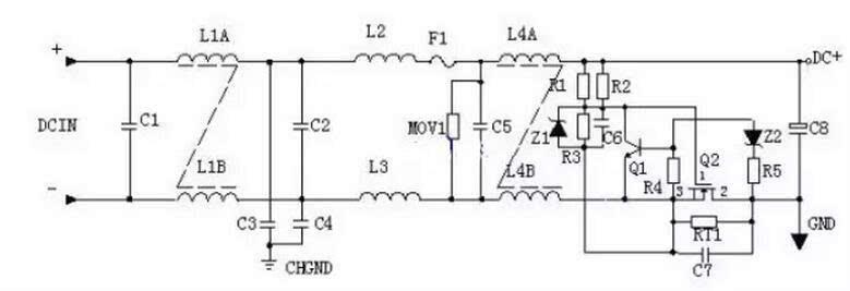 ①输入滤波电路:c1,l1