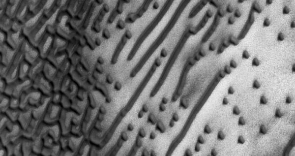 火星上特别的暗色沙丘看起来就像摩斯密码的照片 - 2