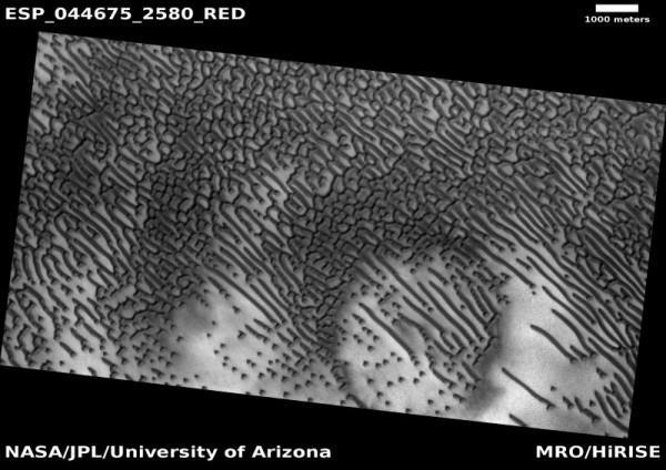 火星上特别的暗色沙丘看起来就像摩斯密码的照片 - 3