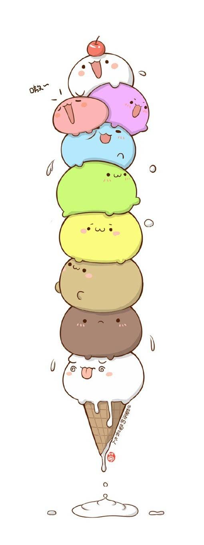 哒卡通漫画风的冰淇淋甜筒简笔画教程图片