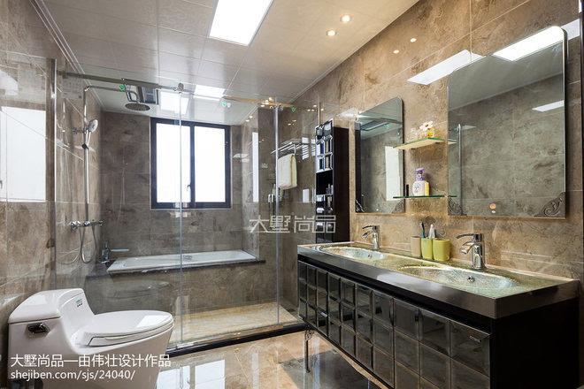 大理石墙面,让整个卫生间空间形成一个整体,不可分割.