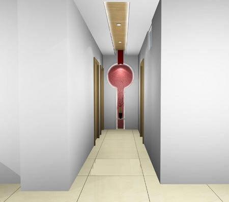 客厅进门玄关效果图:走廊吊顶装修效果图,顶面灯光设计是亮点