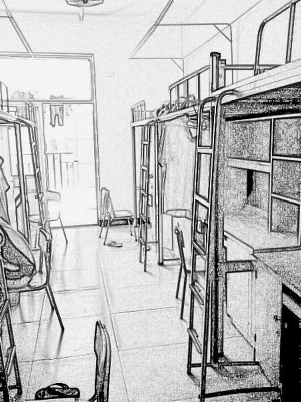 学校宿舍楼 手绘图