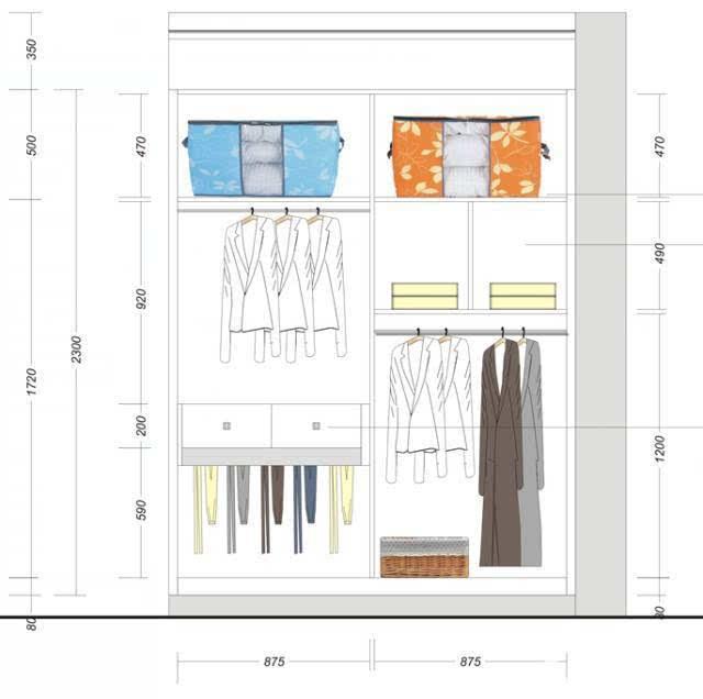 ▼主卧衣柜内部设计结构图
