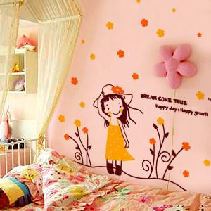 《梦想女孩系列1》女孩房儿童手绘插画风格幼儿园墙贴纸 浪漫屋〖