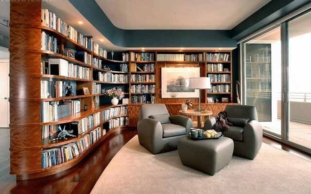最新转角书柜效果图图片欣赏图片