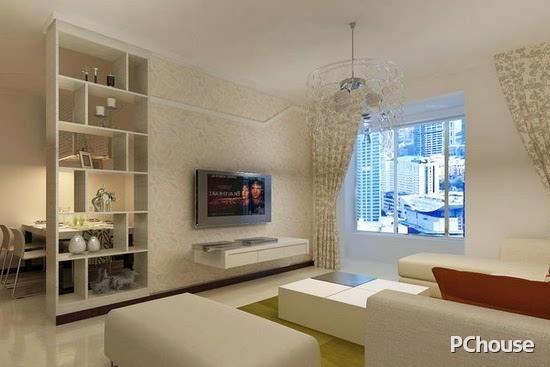 博古架隔断效果图3 白色的布艺沙发,搭配拼接而成的白色方形茶几桌,配