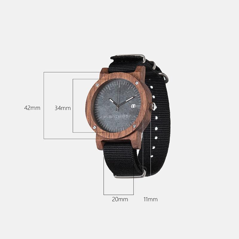 plantwear欧洲手工实木制手表-活力橙-橡木