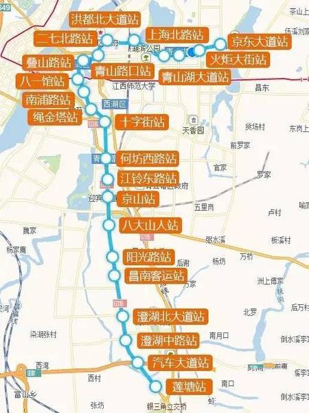 南昌地铁3号线陆续动工 4号线一期线路图示图片