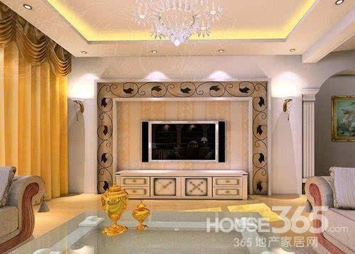 家居电视墙效果图:欧式风格,印花壁纸,彰显生活品质.