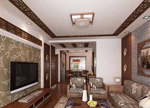 普通家庭客厅装修:墙上的字画突出主人的心境,地板的设计更是富有特色